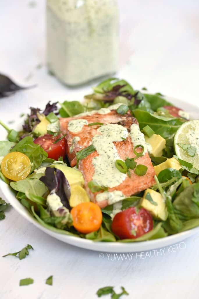A delicious Cilantro Lime Salmon Salad is a healthy meal option loaded with flavor.