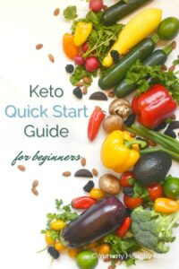 Keto Quick Start Guide for Beginners graphic with a white background and colorful vegetables laying on the right hand side