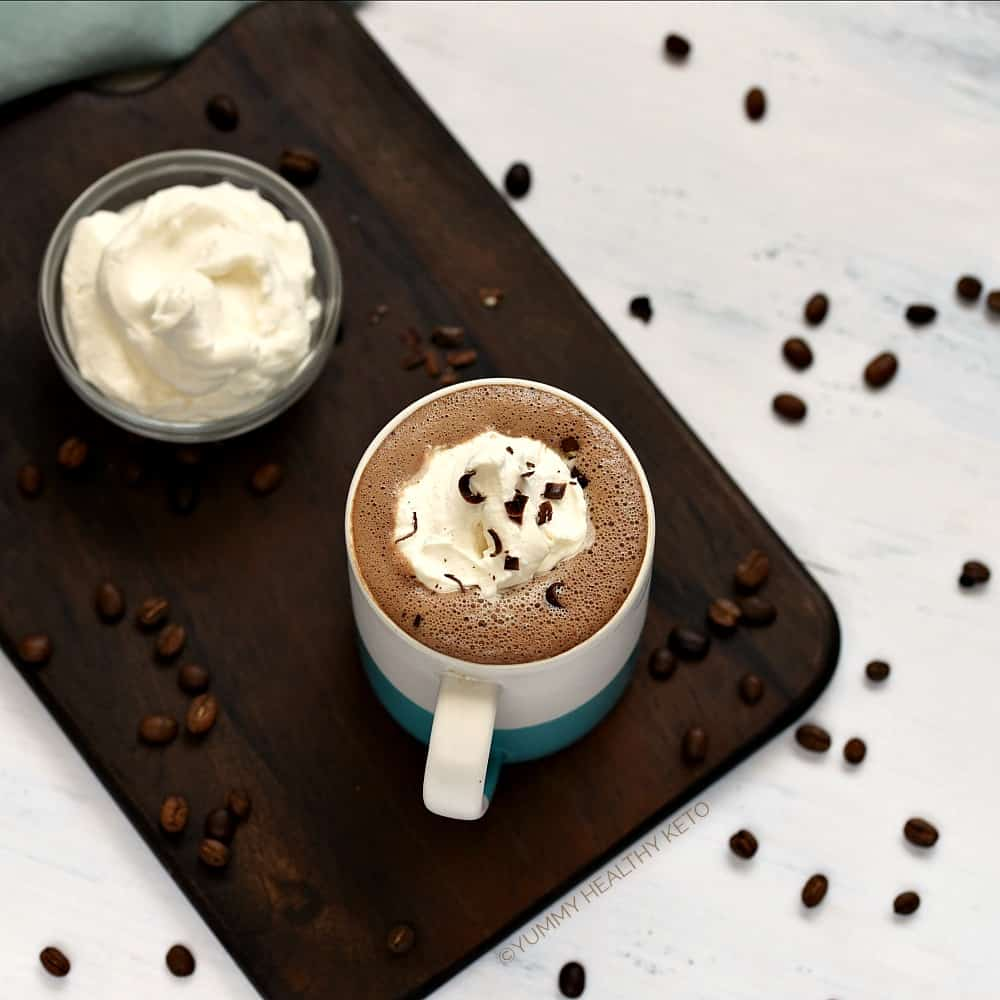 Make your own rich and creamy Keto Mocha at home and skip the expense and lines at the coffee shop!
