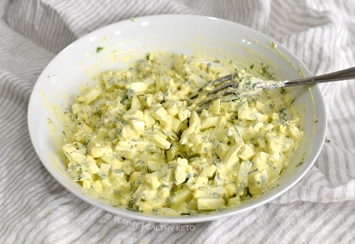 Egg Salad mixed together in a bowl.