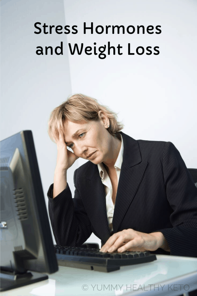 Stressed out blonde haired woman at work with graphic title at the top Stress Hormones and Weight Loss.
