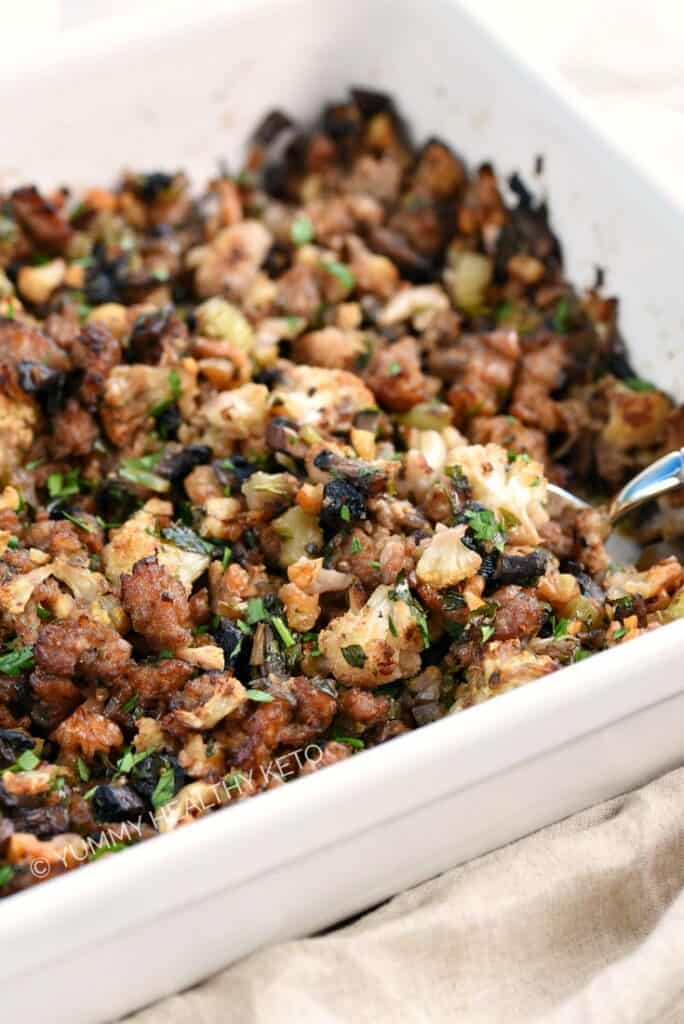 Keto Stuffing in a white baking dish