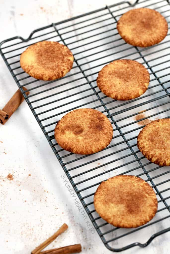 Keto Snickerdoodle Cookies on a wire cooling rack
