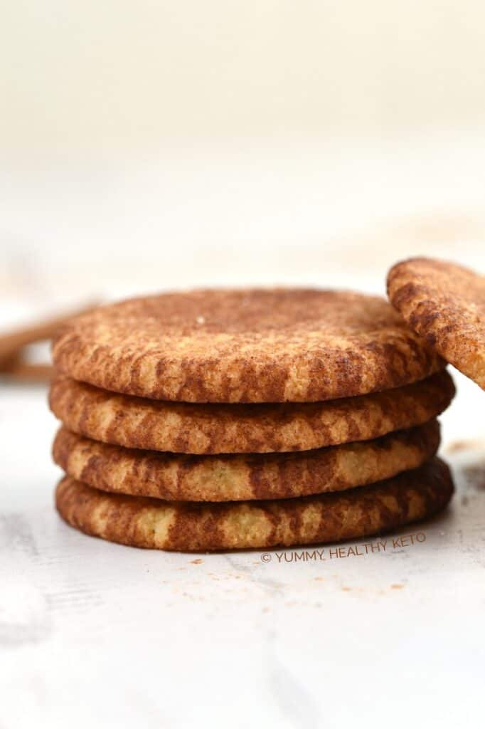 A stack of Keto Snickerdoodle Cookies.